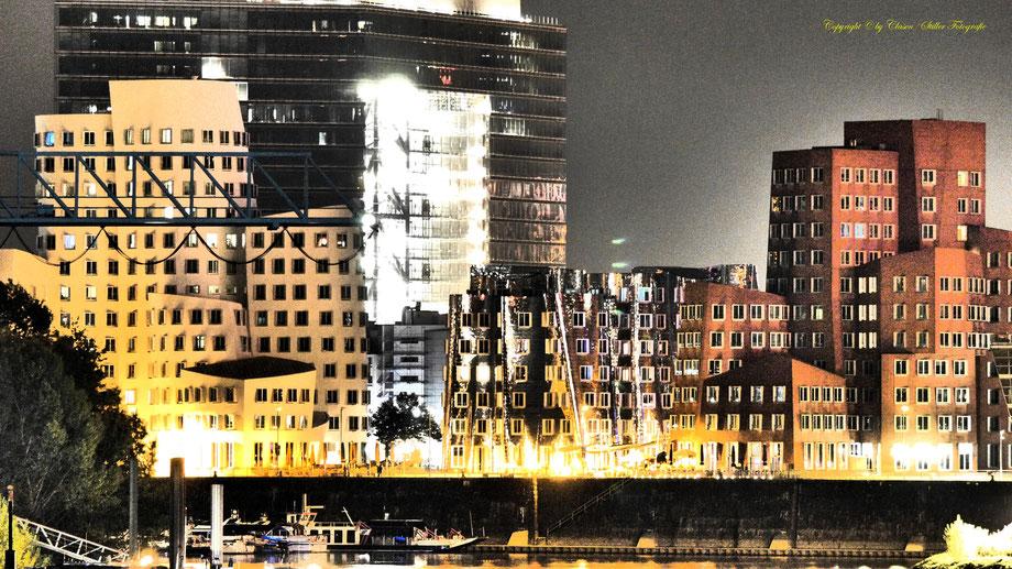 Nachtaufnahme, Langzeitbelichtung, Baum, Sonnenaufgang, Düsseldorf Hafen,
