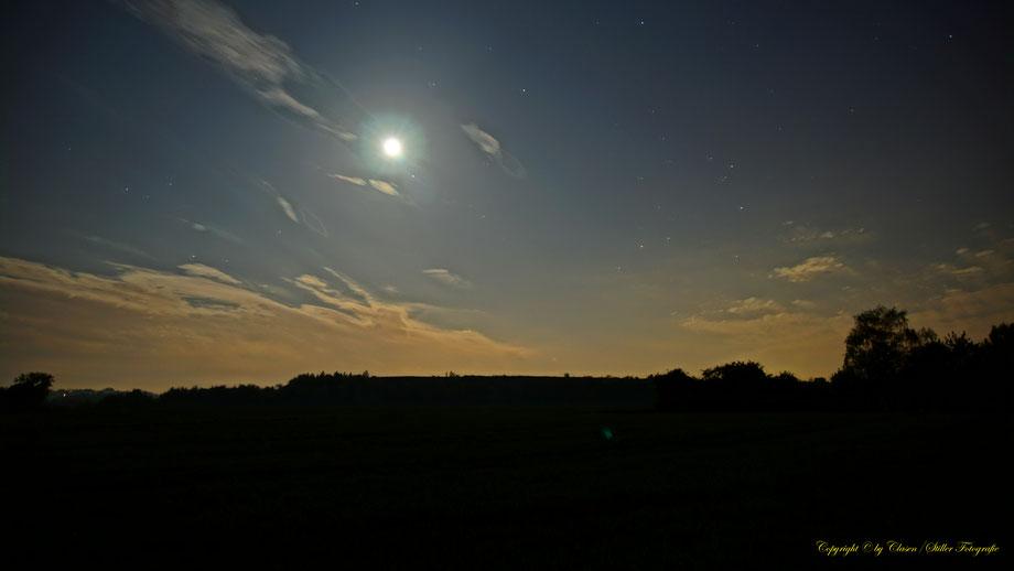 Nachtaufnahme, Langzeitbelichtung, Baum, Sonnenaufgang, Sterne, Mond