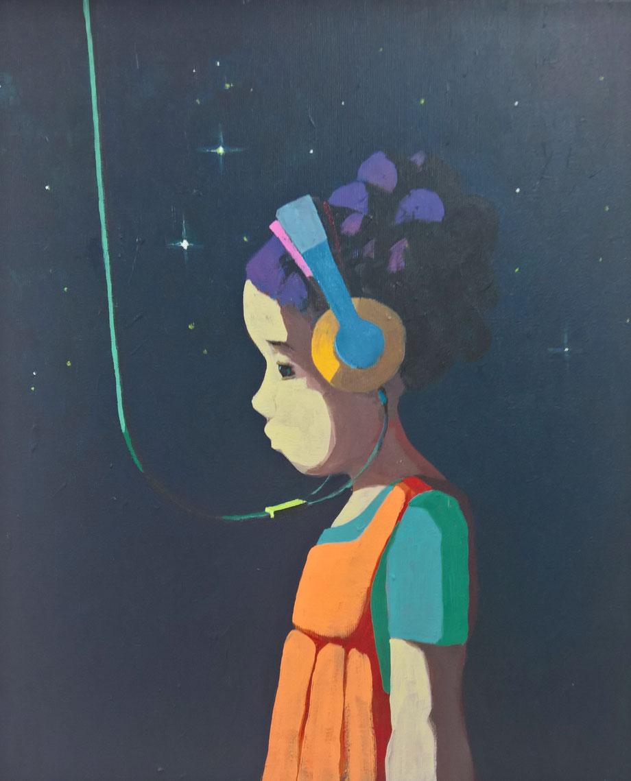 listen to the stars - Acryl auf Leinwand, 60x50cm, 2016 | verkauft