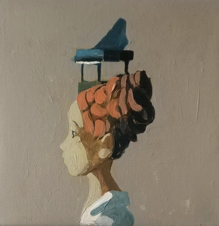 piano girl - Acryl auf Leinwand, 20x20cm, 2019 | verkauft