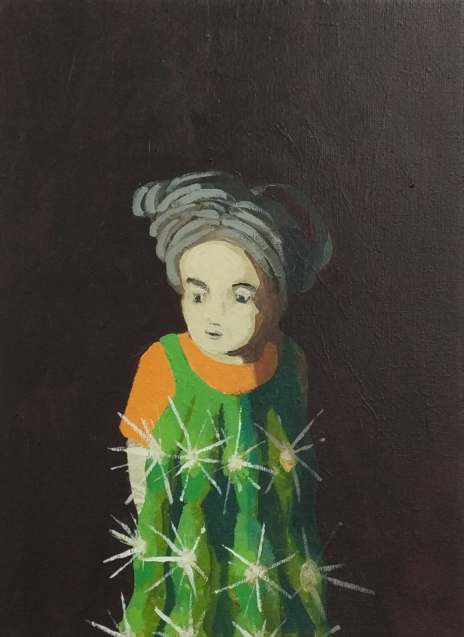 spiky dress - Acryl auf Leinwand, 40x30cm, 2018
