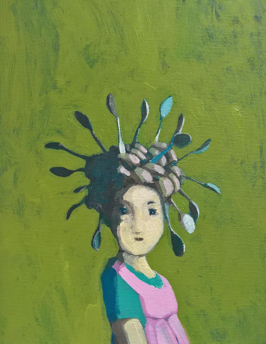 the spoon girl - Acryl auf Leinwand, 30x24cm, 2017