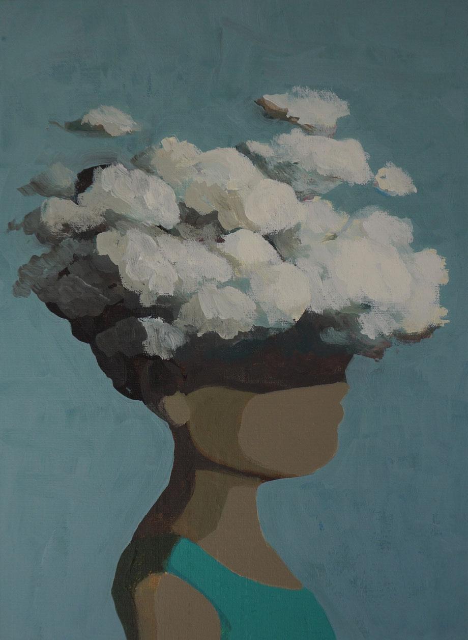 clouds - Acryl auf Leinwand, 40x30cm, 2018