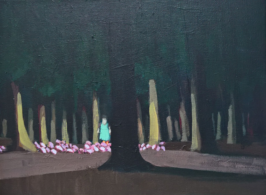 the glowing forest - Acryl auf Leinwand, 30x40cm, 2018