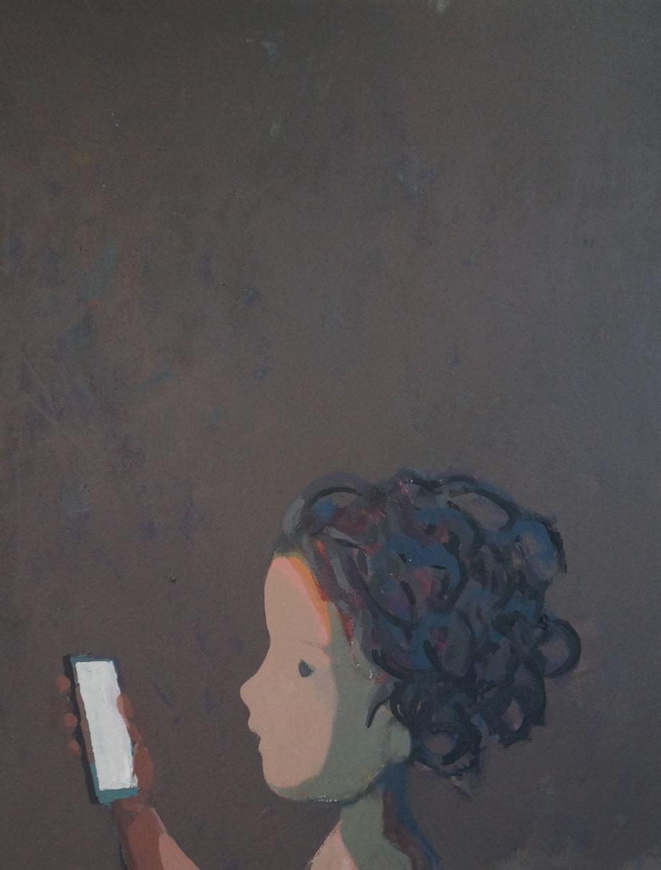 zoe's phone - Acryl auf Leinwand, 64x50cm, 2014