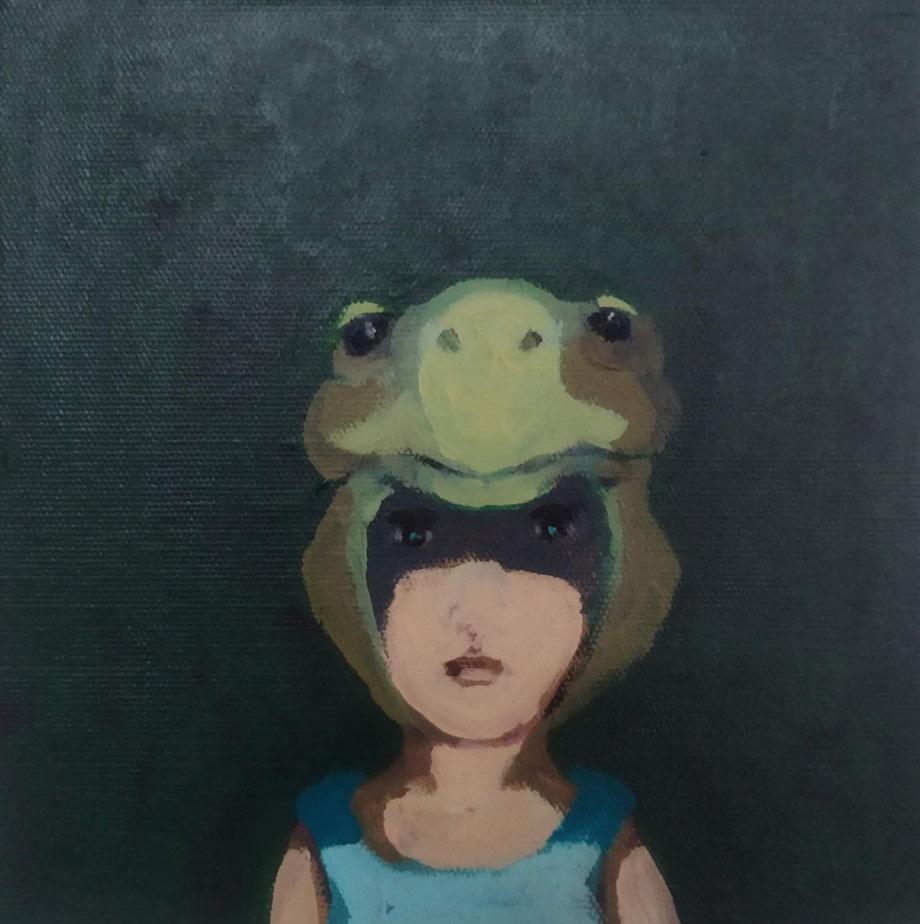turtle - Acryl auf Leinwand, 20x20cm, 2019