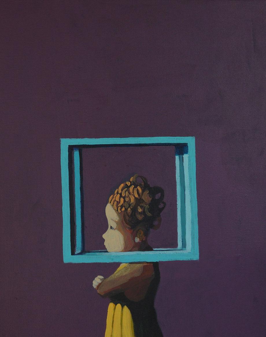 blue cube - Acryl auf Leinwand, 50x40cm, 2018