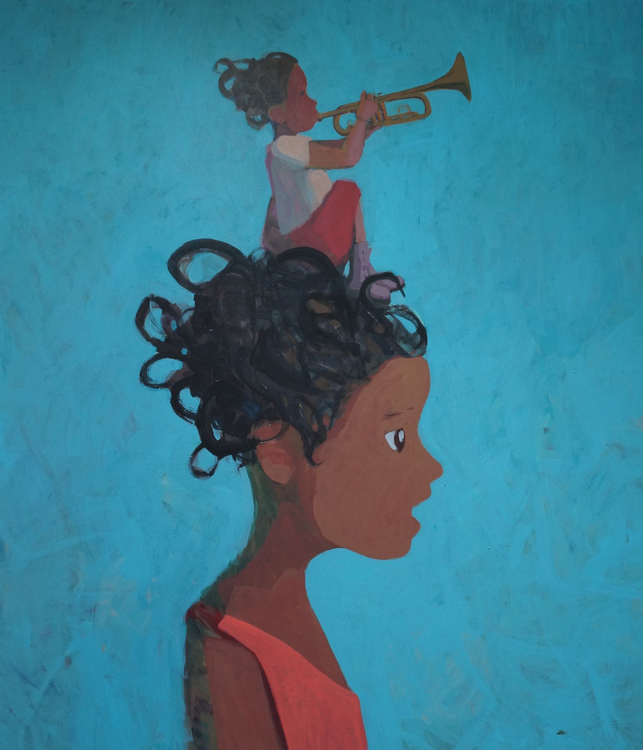 mia and the trumpeter - 150x135cm, 2014