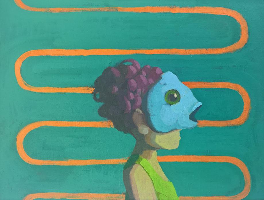 fish head - Acryl auf Leinwand, 30x40cm, 2017