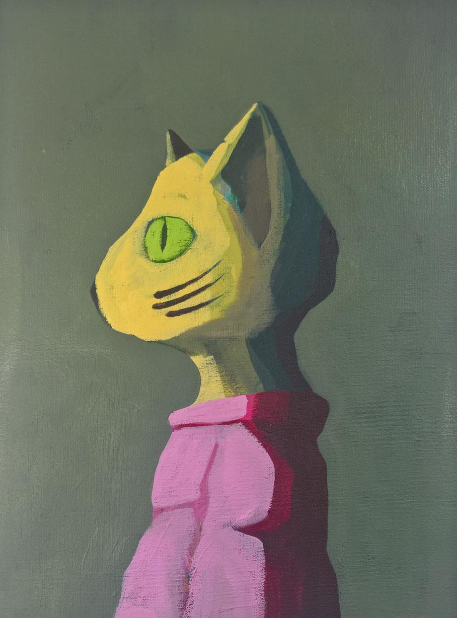 dressed cat - Acryl auf Leinwand, 40x30cm, 2016 | verkauft