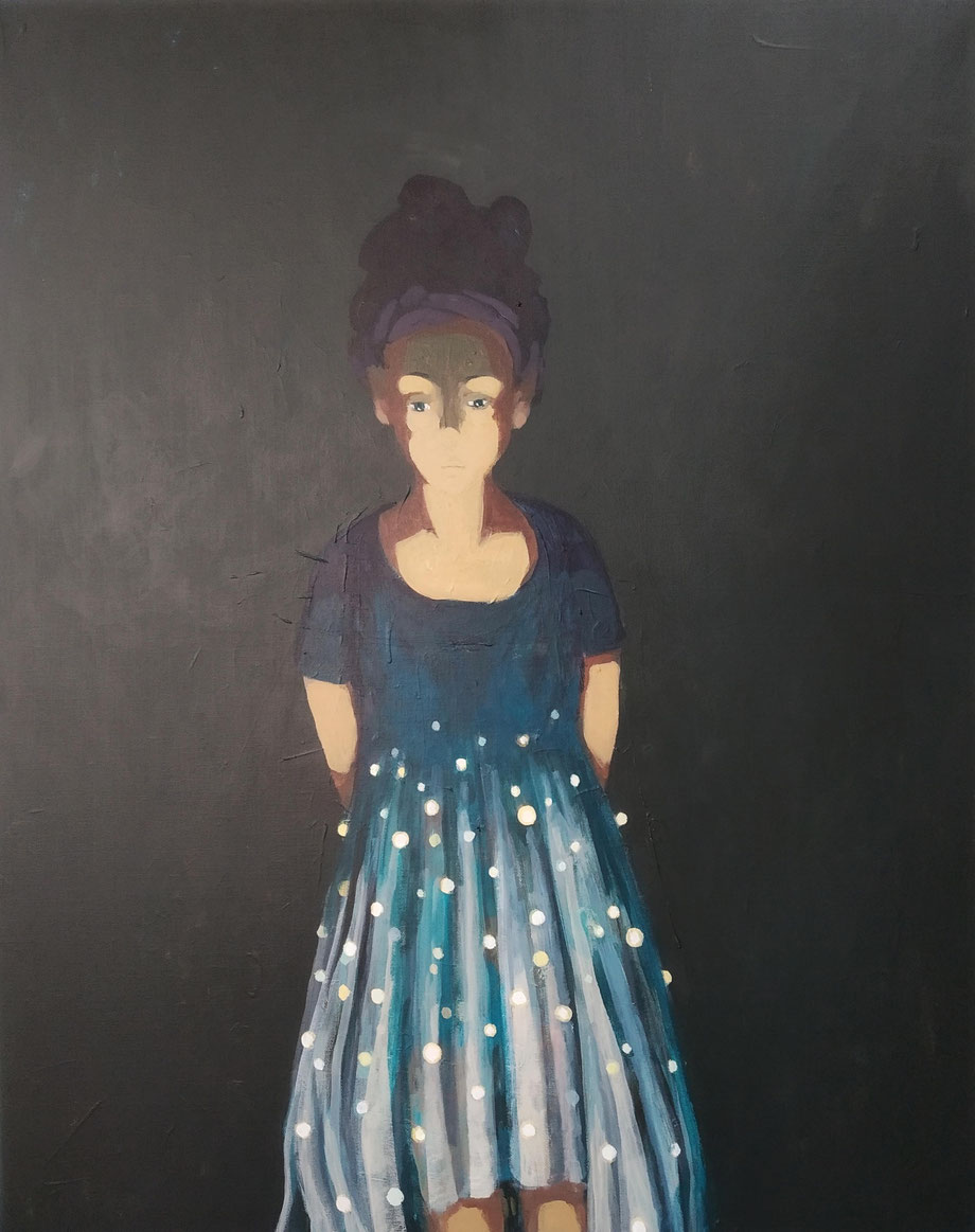 glowing skirt - Acryl auf Leinwand, 100x80cm, 2019