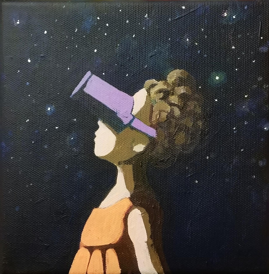 watching the stars - Acryl auf Leinwand, 20x20cm, 2019 | verkauft
