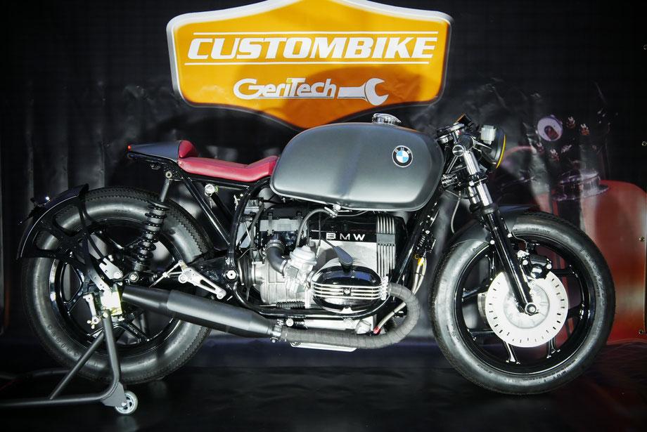 Geritech Cafe Racer #1 fetter Motor, fette Firestones sonst reduziertes Bike mit stimmiger Gesamtoptik und perfekten Details.
