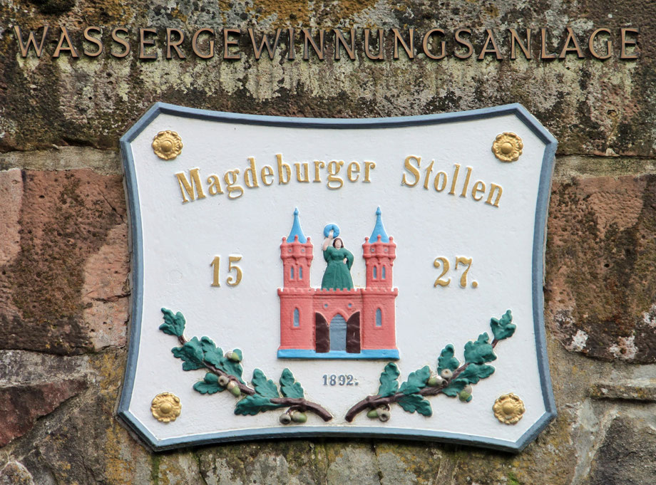 Inschriftenplatte über dem Mundloch des Magdeburger Stollen