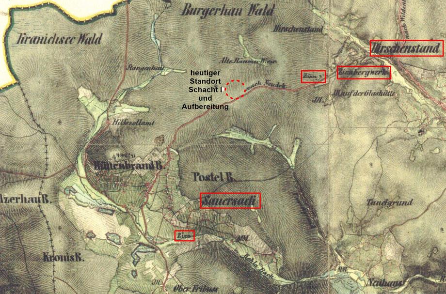 Karte von Sauersack und der Umgebung um 1850 (Ausschnitt der Franziszeische Landesaufnahme 1842-1853)