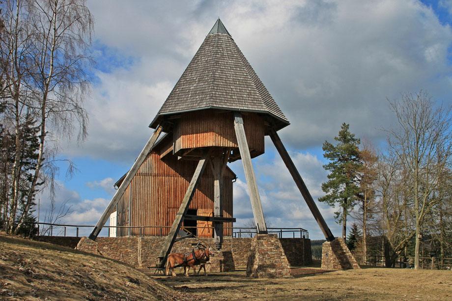 Pferdegöpel auf dem Rudolph-Schacht