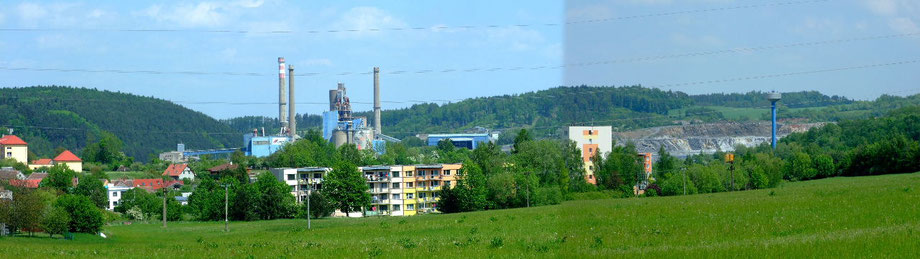 Gesamtansicht von Prachovice mit dem Kalk- und Zementwerk und dem Kalktagebau.