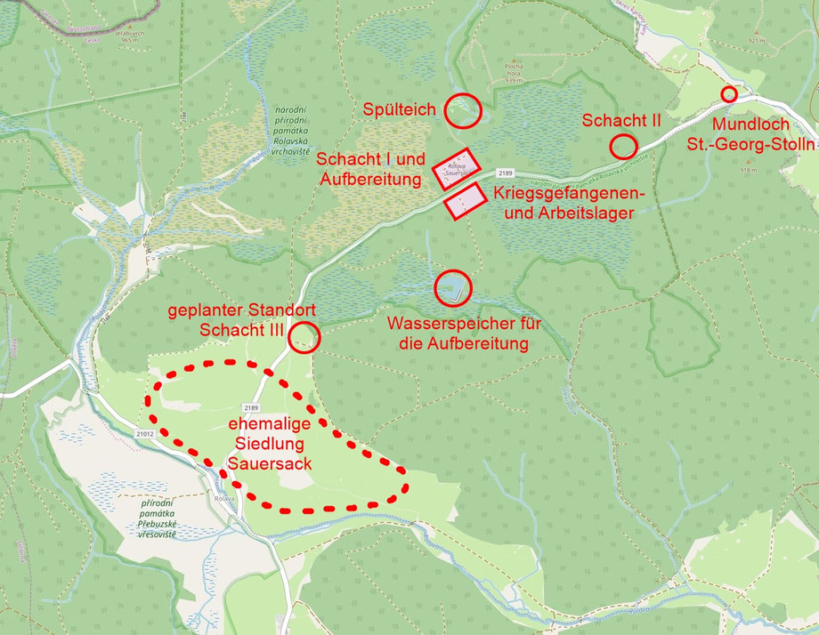 "Lageskizze der ""Grube Sauersack"" (Karte: © OpenStreetMap-Mitwirkende, CC BY-SA 2.0, https://www.openstreetmap.org/copyright)"