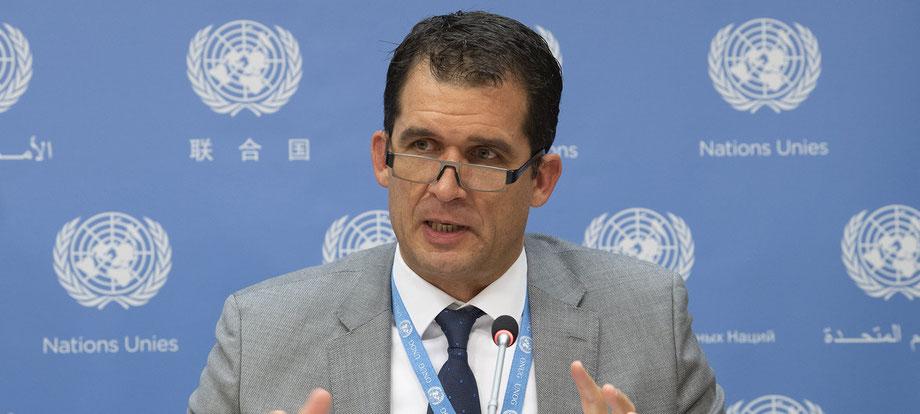 Julian Assange - Professor Nils Melzer, UN-Sonderberichterstatter für Folter, Pressekonferenz im UN-Hauptquartier in New York