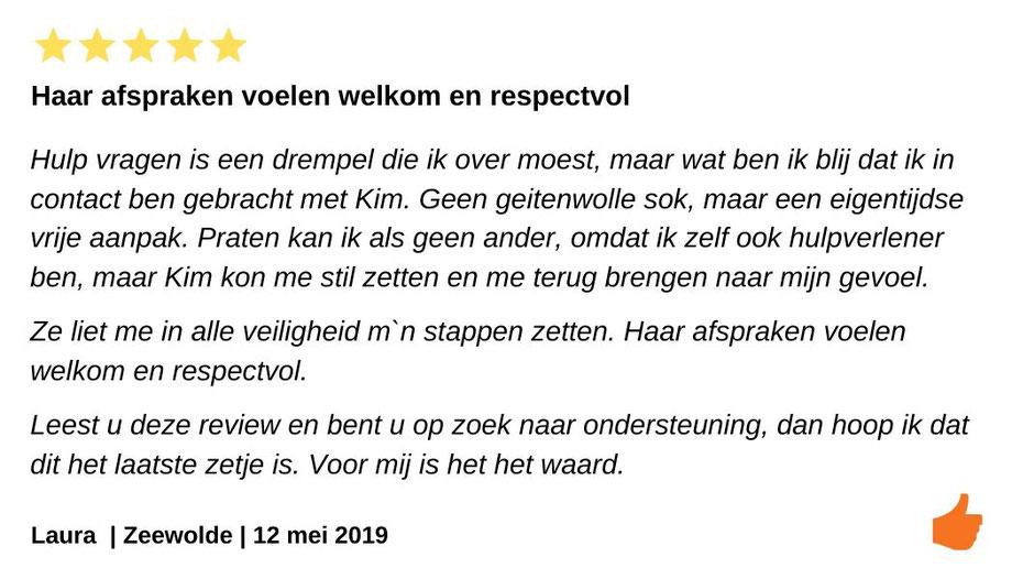 Review Individuele therapie en coaching Zeewolde. Kim Kromwijk haar sessies zijn warm en welkom.