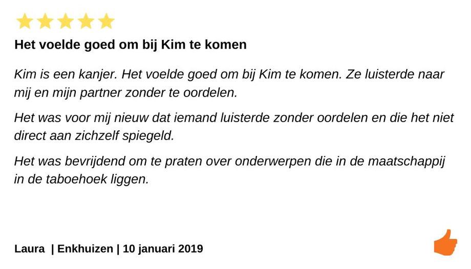 Review relatietherapie Enkhuizen. Kim Kromwijk is een relatietherapeut die luistert zonder oordeel.