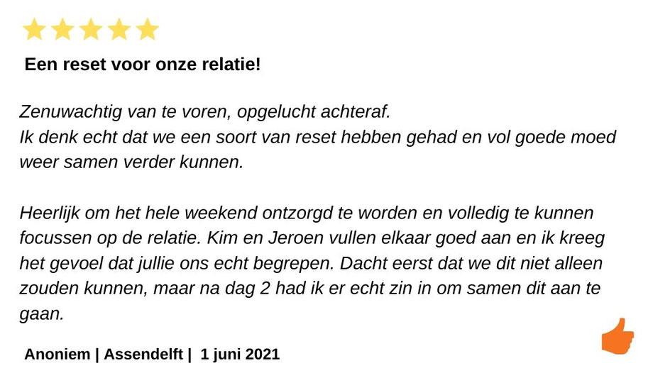 Review relatieweekend relatieretraite. Jeroen en Kim Kromwijk-Lub