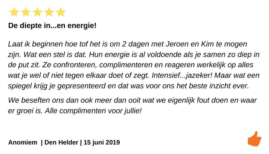 Review relatieweekend Den Helder.  Intensieve relatiebegeleiding bij onze relatiecrisis.