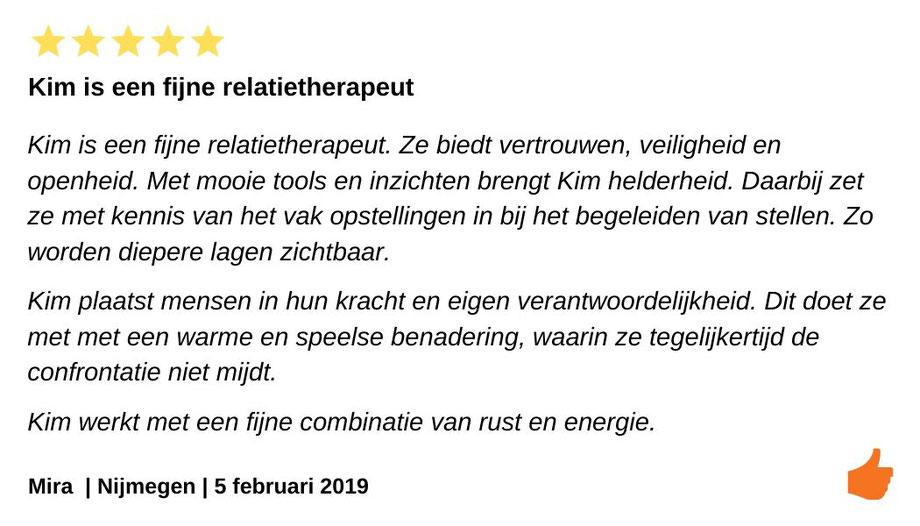 Review relatietherapie West Friesland. Kim Kromwijk is een relatietherapeut die vertrouwen, veiligheid en openheid biedt.
