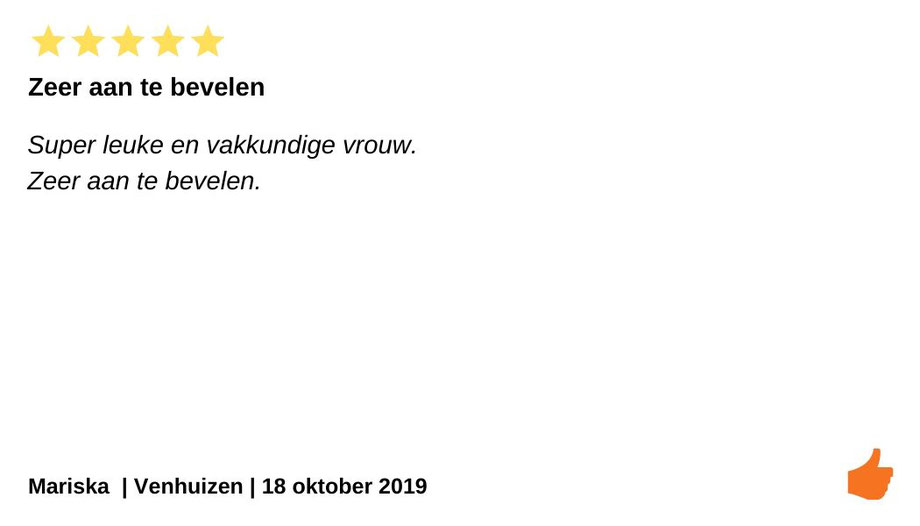 Review Individuele therapie en coaching  Venhuizen. Kim Kromwijk is een zeer vakkundige vrouw. Zeer aan te bevelen.