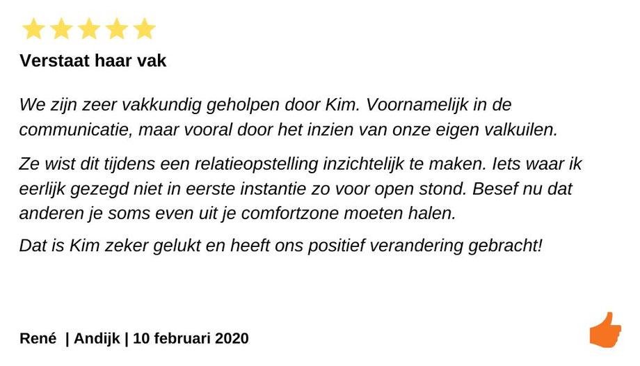 Review Relatietherapie Andijk.  Kim Kromwijk verstaat haar vak