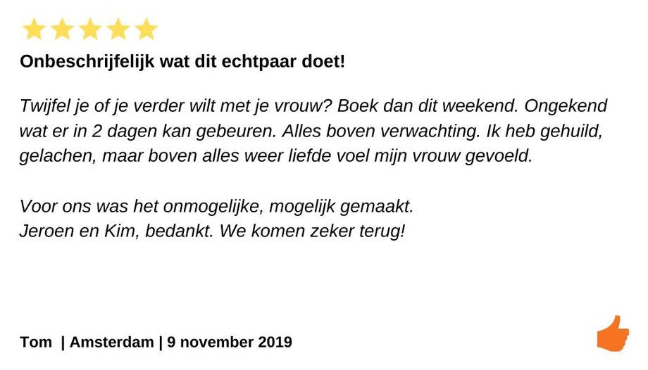 Review relatieweekend Amsterdam. Door Jeroen en Kim Kromwijk heb ik weer liefde gevoeld. Huwelijksprobleem oplossing.