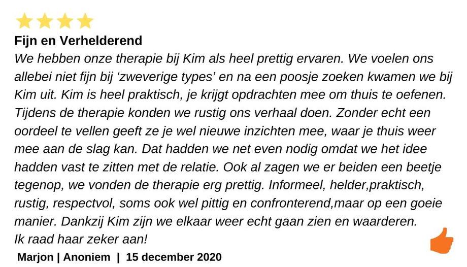 Kim Kromwijk Relatietherapeut. Prettig, formeel, respectvol en praktisch