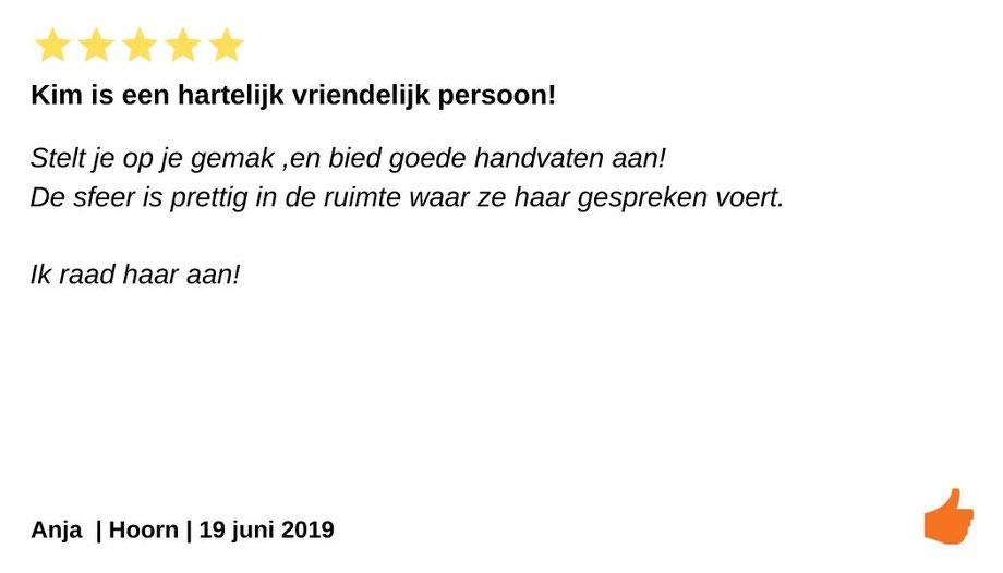 Review Individuele therapie en coaching Hoorn. Therapeut Kim Kromwijk-Lub is erg hartelijk en heeft een prettige sfeer in haar praktijk.