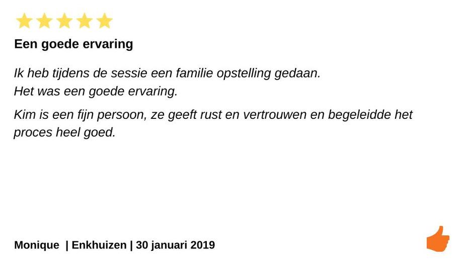 Review Individuele therapie en coaching Enkhuizen. Kim Kromwijk geeft familieopstellingen in Enkhuizen.