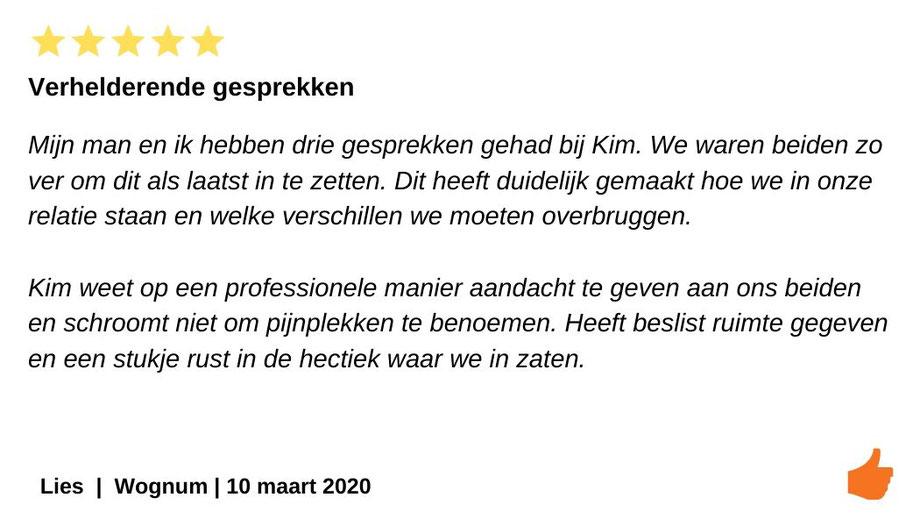 Review relatietherapie Wognum. Verhelderende gesprekken met Kim Kromwijk