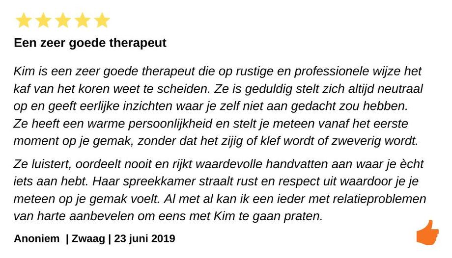 Review relatietherapie Zwaag. Waardevolle handvatten en Kim Kromwijk heeft een warme persoonlijkheid