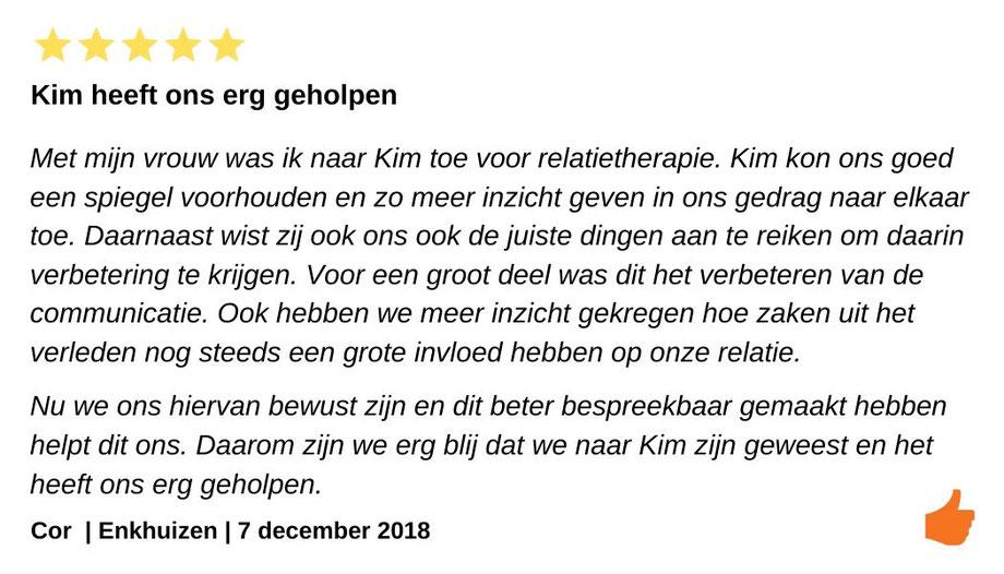 Review relatietherapie Enkhuizen. Relatietherapie die heeft geholpen bij onze communicatie bij onze huwelijkscrisis.