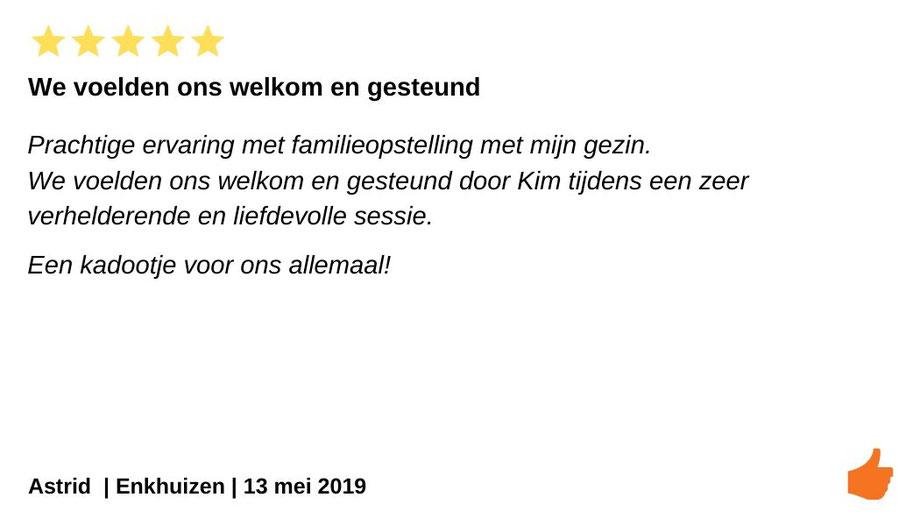 Review Individuele therapie en coaching Enkhuizen. Bij Kim Kromwijk een familieopstelling gedaan. We voelden ons liefdevol gesteund.