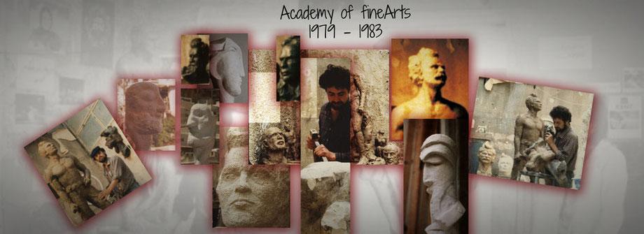 Photos aus der Zeit in der Kunstakademie, Damaskus art academy, Ibrahim Alawad at work