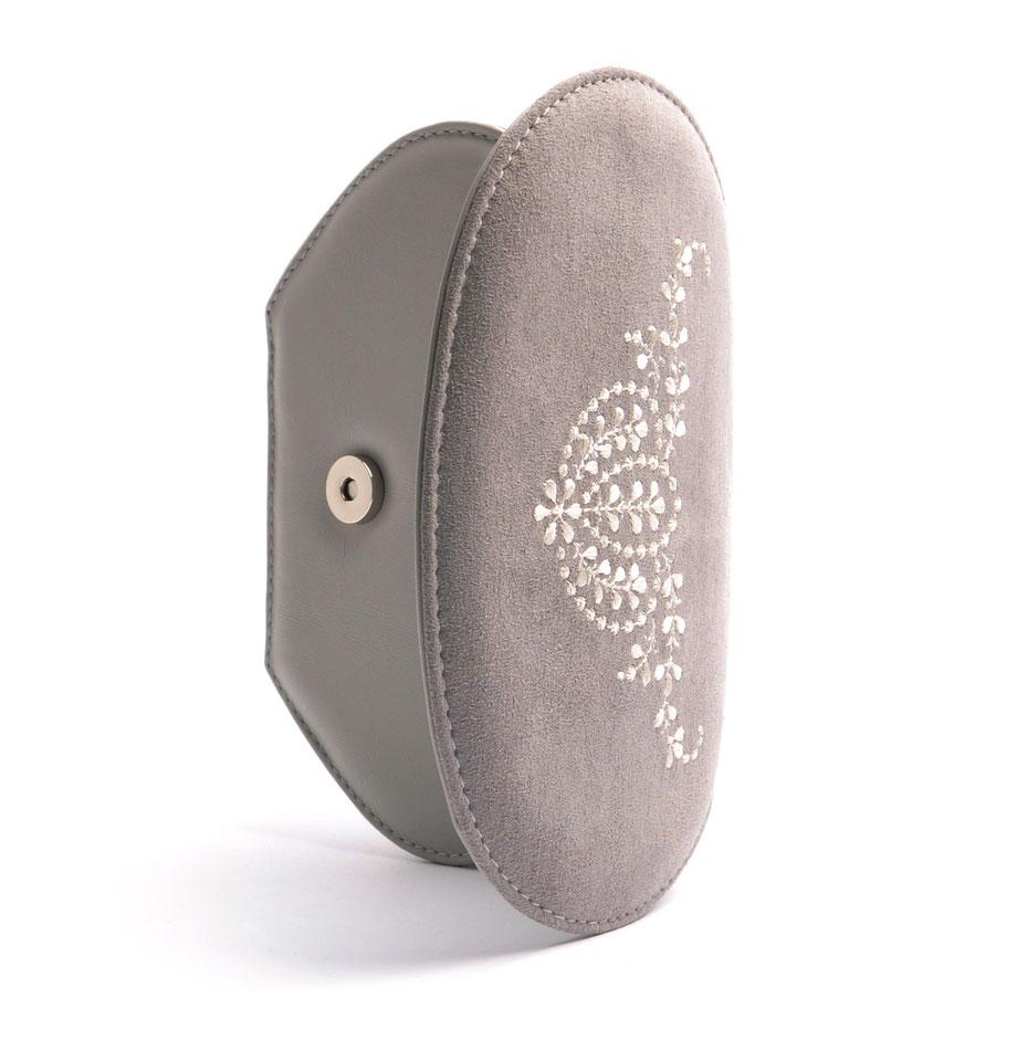 Edle Trachtentasche ANNA grau Handgefertigt Ledermanufaktur OSTWALD Tradition