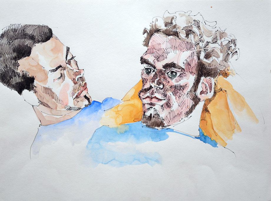 """Lenz & Bastian"" 2005 • ink-pencil & watercolor on paper • 42 x 30 cm"