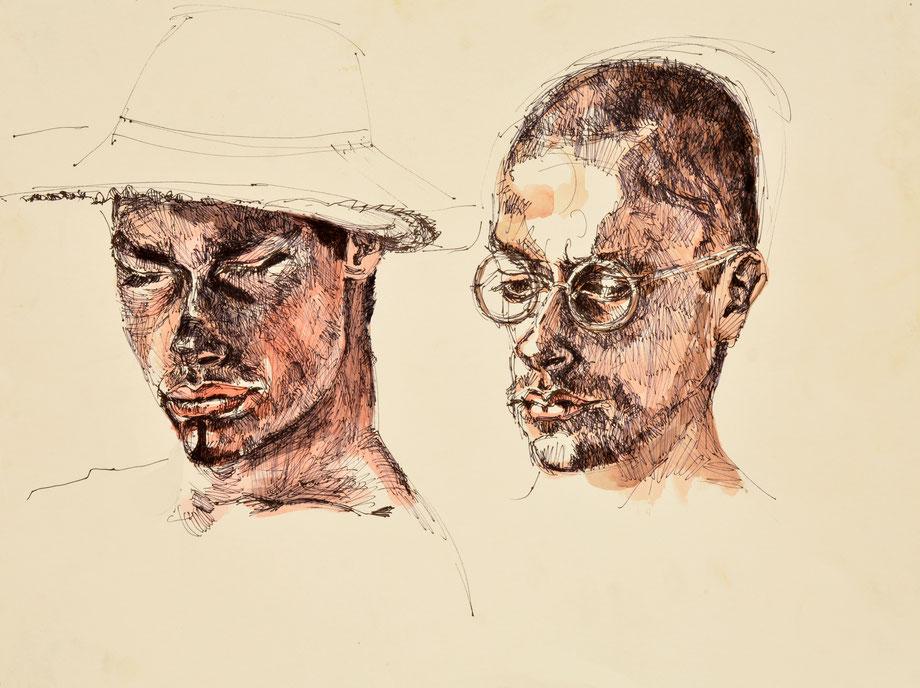 """Lenz & Ben"" 2005 • ink-pencil & watercolor on paper • 70 x 50 cm"