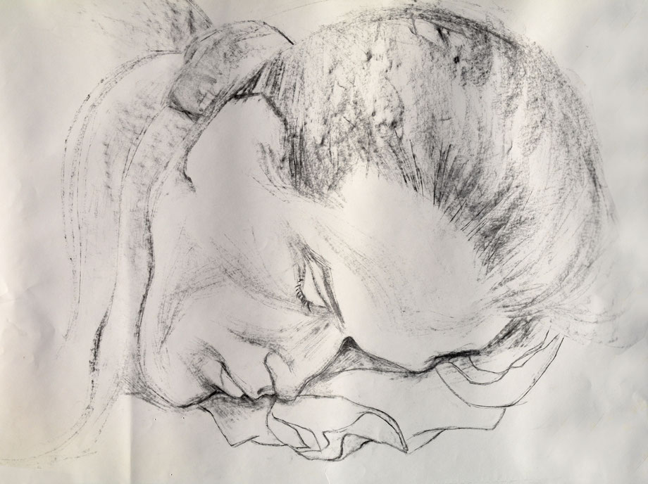 """Sleeping Paul"" 2001 • coal on paper • 70 x 50 cm"