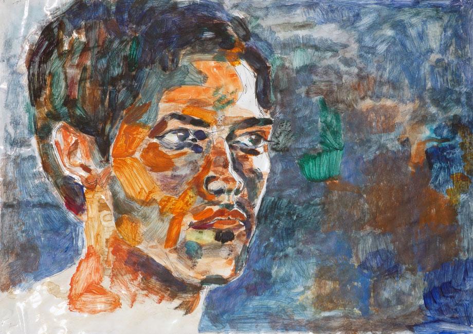 """Self-portrait"" 2005 • ink-pencil & acrylic on paper • 70 x 50 cm"