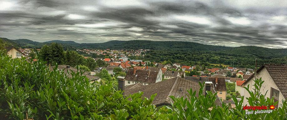 Blick auf Rodalben - Im vorderenTeil, sehen Sie das Lohn und im hinteren Teil links ein wenig verdeckt die hintere Heide und fast in der Mitte Ortsteil Neuhof.