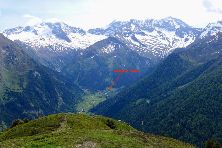 Blick vom Padauner Kogel auf Olperer, Fußstein und Schrammacher mit der Mucheler Kaser im Vordergrund.