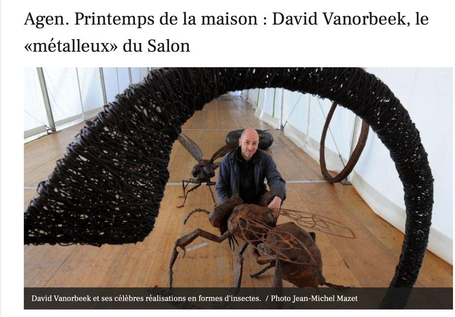 Sculptures d'insectes, insect sculptures, David Vanorbeek, artiste sculpteur en France
