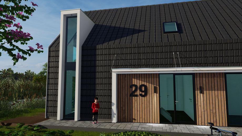 Ontwerp vrijstaande woning Zevenhuizen vanaf de oprit gezien