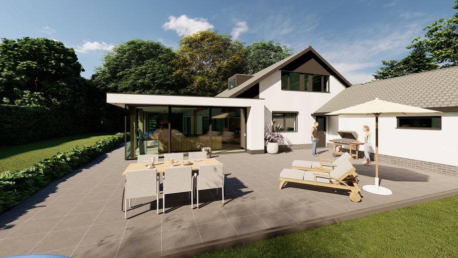 Moderne aanbouw aan villa | Baarland, Zeeland