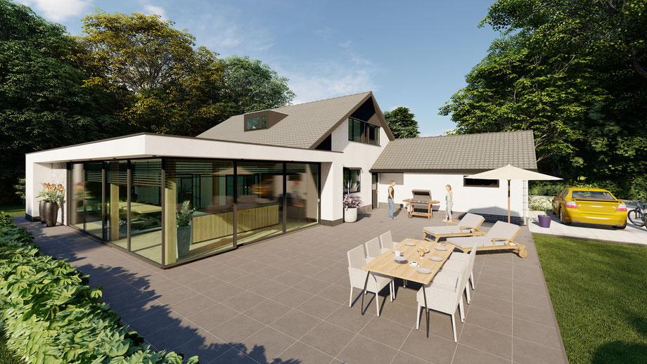 Aanbouw aan bestaande bungalow uit 1985, Baarland (2021)